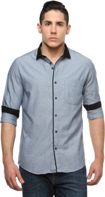 British Club Men's Solid Casual Grey Shirt