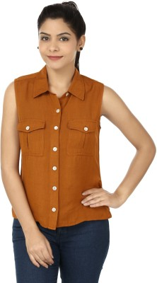 Eves Pret A Porter Women's Solid Casual Linen Brown Shirt