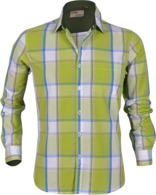 Aady Jones Men,s Checkered Formal Green Shirt
