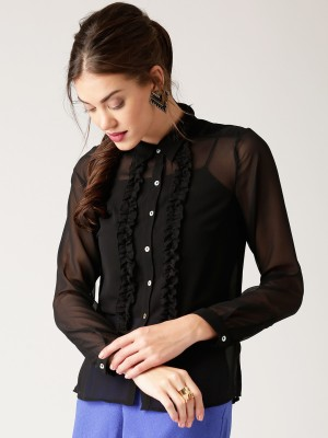 All About You Women's Solid Casual Black Shirt