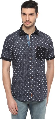FERROUS Men's Printed Casual Blue Shirt