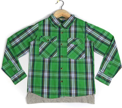 People Boy's Checkered Casual Green Shirt