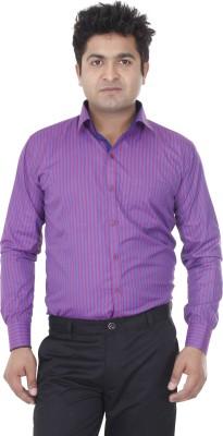 Aces Blue Men's Striped Formal Blue, Pink Shirt