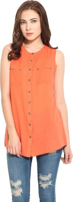 Free & Young Women's Solid Casual Orange Shirt