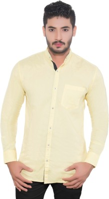One Sphere Men's Solid Casual Yellow Shirt