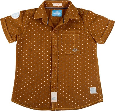 Einstein Boy's Polka Print Casual Brown Shirt