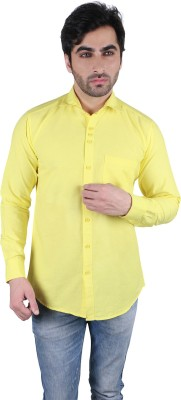 Being Friends Men's Solid Casual Yellow Shirt