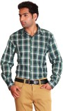 Swank Men's Checkered Casual Green Shirt