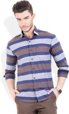 PAN VALLEY Men's Striped Casual Grey, Blue Shirt