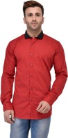 Yasna Formal Shirts (Men's) - Yasna Men's Solid Formal Red, Black Shirt