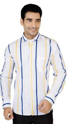 X-Secret Men's Striped Formal White Shirt