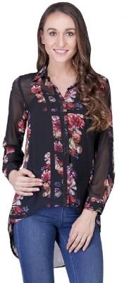 Shiks Vogue Women's Floral Print Casual Black Shirt