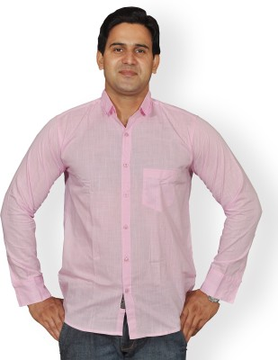 Mc-John Men's Solid Formal Pink Shirt