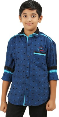 Cub Kids Boy's Printed Casual Blue Shirt