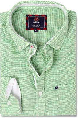 Harvard Men's Self Design Casual Linen Green Shirt