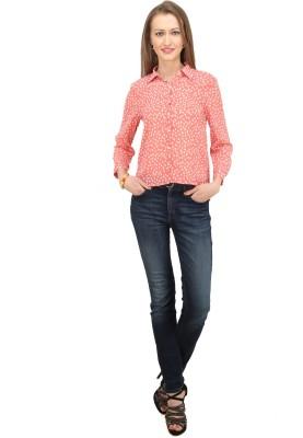 Splendent Women's Polka Print Formal Pink Shirt