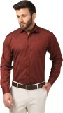 Mesh Men's Solid Formal Maroon Shirt