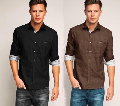 Chalk Factory Men's Solid Casual Denim Black, Brown Shirt