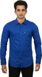 Hunter Men's Self Design Formal Blue Shi...