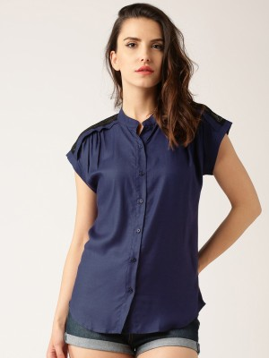 Dressberry Women's Self Design Casual Dark Blue Shirt