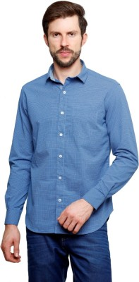 99 Hunts Men's Self Design Casual Blue Shirt