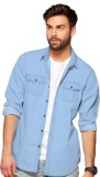 Bewakoof Men's Solid Casual Denim Blue S...