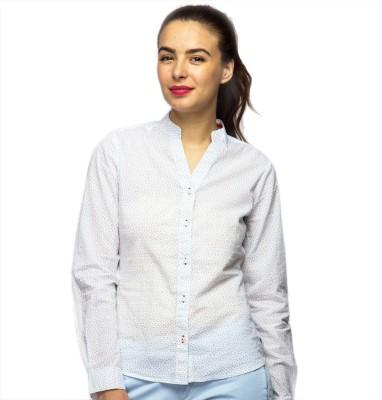 American Swan Women's Printed Casual White Shirt