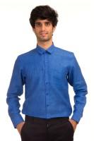 Akb Formal Shirts (Men's) - AKB Men's Solid Formal Linen Dark Blue Shirt