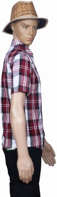 M Touch Men,s Checkered Casual Maroon Shirt