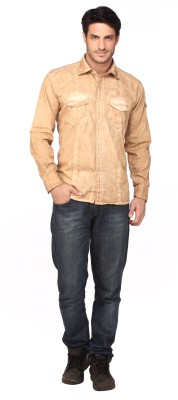 Fire & Ice Men's Solid Casual Beige Shirt