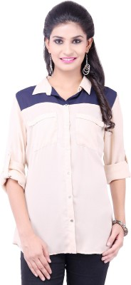 Pear Blossom Women's Solid Casual Beige Shirt