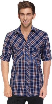 Blackburne Inc Men's Checkered Casual Blue Shirt