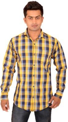 VDE Men's Checkered Casual Yellow Shirt