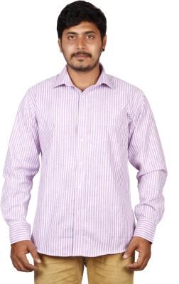BlackBird Men's Striped Formal White, Purple Shirt