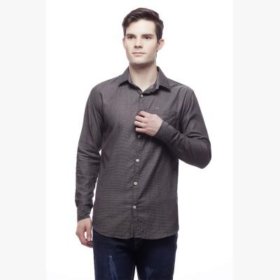 Akara Men's Self Design Casual Black Shirt