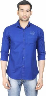 Human Steps Men's Solid Casual Blue Shirt