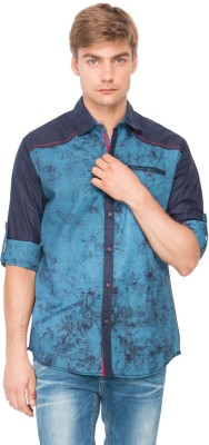 The Indian Garage Co. Men,s Printed Casual Blue Shirt