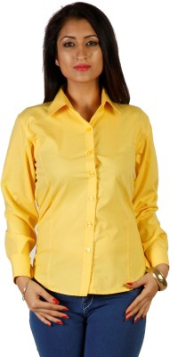 Hugo Chavez Women's Solid Formal Yellow Shirt