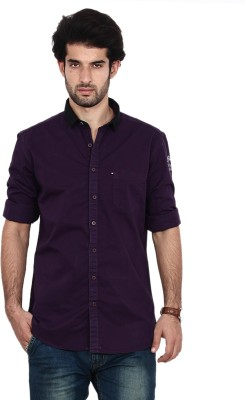 FRD13 Men's Solid Casual Purple Shirt