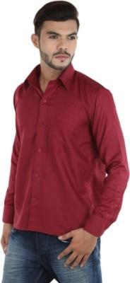 MAKHKHA Men's Solid Formal Maroon Shirt