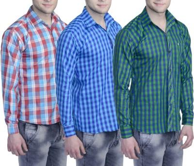 Aligatorr Men's Checkered Formal Blue, Green, Red Shirt