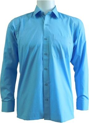 Ardeur Men's Checkered Formal Blue Shirt