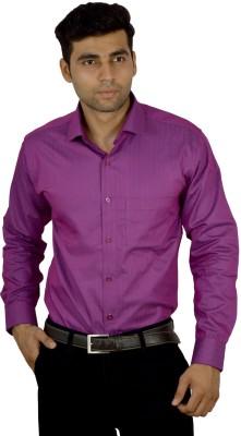 Studio Nexx Men's Striped, Solid Formal Purple Shirt