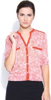 Colors Couture Women's Printed Casual Orange, White Shirt