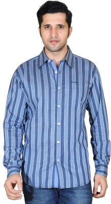 Denimize Men's Striped Casual Grey Shirt