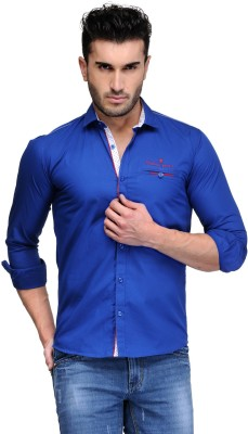 Finder Zone Men's Solid Casual Blue Shirt