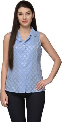 Vemero Women's Self Design Casual Light Blue Shirt