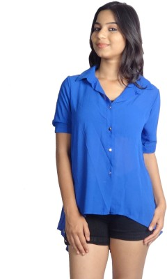 Oomph Factor Women's Solid Casual Dark Blue Shirt