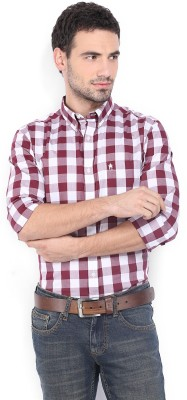 French Connection Men's Checkered Casual Red, White Shirt