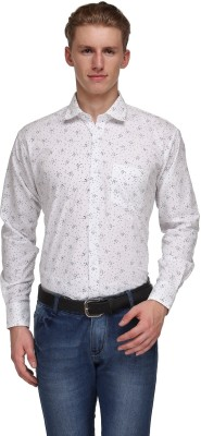 Ausy Men's Printed Casual White Shirt